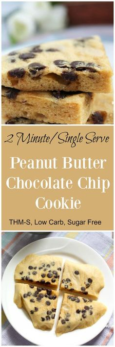 2 Minute Peanut Butter Chocolate Chip Cookie (THM-S, Low Carb, Sugar Free)