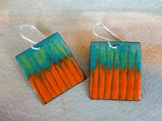 Enameled Turquoise Lime and Orange Rectangle Earrings Sterling Silver Ear Wires Ceramic Jewelry, Enamel Jewelry, Jewelry Art, Copper Earrings, Copper Jewelry, African Accessories, Vitreous Enamel, Tea Art, Sgraffito