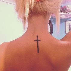 back of neck cross tattoo. #simple.