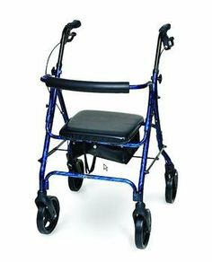 "INVACARE SUPPLY GROUP Deluxe Aluminum Rollator - Blue by Invacare. $95.96. Quantity: 1. Color: Blue. 8"" polyurethane wheels easily roll on carpet. Soft pouch included, sits under the seat. INVACARE SUPPLY GROUP. Durable, lightweight aluminum frame has easy squeeze, locking loop brakes and a comfortable, rounded, padded backrest that is easily removable with a simple push button.. Durable, lightweight aluminum frame has easy squeeze, locking loop brakes and a comforta..."