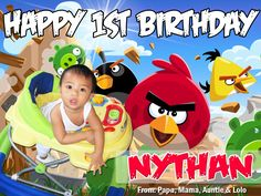 Angry Birds Tarpaulin Design - Nythan Tarpaulin Design, Angry Birds, Party Supplies, Balloons, Layout, Birthday, Kids, Young Children, Globes