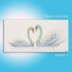 White Swans Love Heart 72 Modern Original Large Acrylic