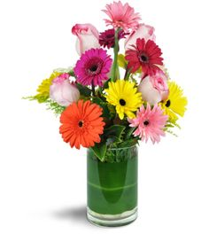 Have a special someone that you'd like to surprise? Send them over the rainbow with our fabulously cheerful arrangement of Gerbera daisies and roses! Full of color and happiness, just for their special day!