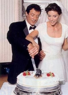 Actor Sylvester Stallone and model Jennifer Flavin #wedding in 1997.