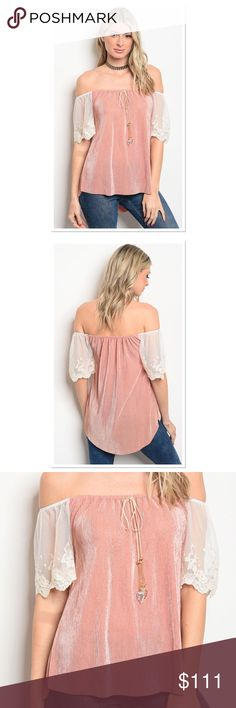 🛑COMING SOON🛑BLUSH AND IVORY OFF SHOULDER TOP Precious top that sits off the shoulder with lace sleeves and tassel tie. 100% POLYESTER. MADE IN THE USA 🇺🇸 LIKE THIS LISTING FOR ARRIVAL Boutique Tops Blouses