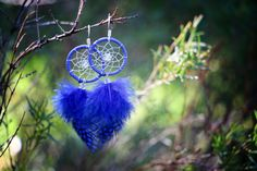Ultramarine Blue Dream Catcher Earrings by nZuriArtDesigns on Etsy