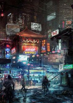 me of Chiba City, from Neuromancer. Art by ~Fealasy. Cyberpunk City, Ville Cyberpunk, Cyberpunk Kunst, Cyberpunk Aesthetic, Futuristic City, Blade Runner, Sci Fi Fantasy, Fantasy World, Sci Fi Stadt