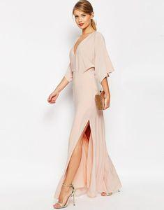 ASOS Kimono Plunge Maxi Dress at ASOS. Asos Kimono, Kimono Dress, Dress Skirt, Dress Up, Asos Dress, Style Caftan, Style Kimono, Traje Black Tie, Mode Orange