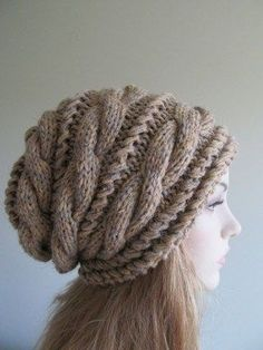 Slouchy Beanie Slouch Hats Braided Oversized Baggy Cable Hat Womens Fall Winter accessory Grey Beige Brown Hand Made Knit - Crochet Outerwear Knitting Projects, Crochet Projects, Knitting Patterns, Crochet Patterns, Knitting Yarn, Knit Crochet, Crochet Hats, Crochet Clothes, Slouchy Hat