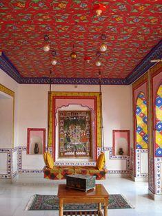 Old bundi school painting inside Haveli