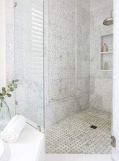 A large marble mosaic feature combined with large Marble Wall tiles and a beautiful basket weave on the floor. Spa away! Master Bath Tile, Marble Tile Bathroom, Bath Tiles, Bathroom Floor Tiles, Shower Floor, Marble Wall, Marble Mosaic, Hall Bathroom, Basement Bathroom