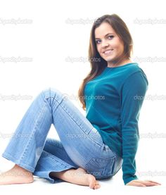 barefoot, bare sole, blue jeans, bootcut, feet, flared, girl, look ...