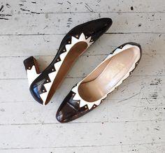 60s shoes / mod 1960s shoes / Harlequin heels. $54.00, via Etsy.