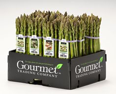 It's more than just a box of asparagus.  Nice with the #Elastitag, which is very handy for information and for bundling. #packaging # asparagus