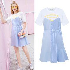MG 코끼리 드레스 여성 여름 2017 새로운 짧은 소매 드레스 셔츠 가짜 두 불규칙한 드레스 그룹 치료실
