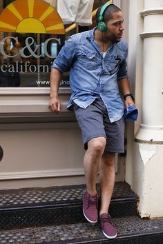 Ray Ban Sunglasses, Urban Outfitters Denim Cowboy Shirt, Lands' End Canvas Shorts, Zuriick Canvas Chukkas, We Sc Headphones, The Hill Side Pocket Square, Brera Orologi Militaire Watch