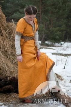Medieval Costume Knyazhna Helga Medieval Flax Linen Dress and Underdress | eBay