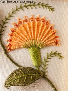 Needlewoven Flower Detail from Top Panel in book from Jane Nicholas Mirror 1 stitched by Lorna Loveland. Found Image Only. jwt