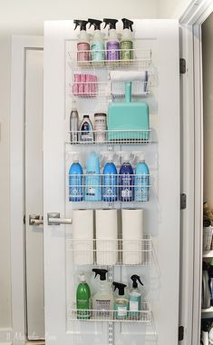 Getting Organized–Our Cleaning Closet An easy way to organize cleaning supplies, use the back of the door for extra space. This easy to install rack holds all your cleaning supplies so they are on hand. Cleaning Supply Storage, Cleaning Closet, Organizing Cleaning Supplies, Kitchen Cleaning, Organising, Laundry Room Storage, Storage Spaces, Closet Door Storage, Small Closet Storage