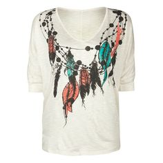 FULL TILT Feather Print Womens Top ($19) ❤ liked on Polyvore featuring tops, t-shirts, shirts, women, short sleeve v-neck tee, dolman sleeve t shirt, plunge shirt, v neck t shirts and v-neck shirt