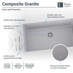 René By Elkay R3-1006 Single Bowl Undermount Composite Granite Kitchen Sink with Grid and Matching Colored Strainer (
