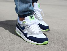 Air Max 1 White Midnight Navy Seattle Seahawks