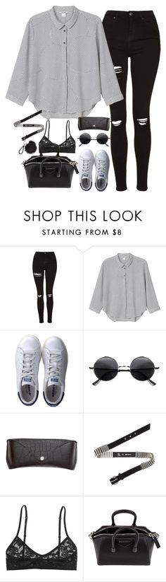 """""""Untitled#4513"""" by fashionnfacts ❤ liked on Polyvore featuring Topshop, Monki, adidas, Retrò, H&M, McQ by Alexander McQueen and Givenchy"""