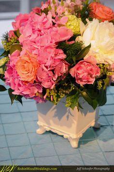 Vibrant Reception #Centerpiece #weddingflowers #coralpeonies #pinkhydrangea