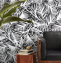miami vibes. Modern meets tropical in this fresh leaf motif by Hygge and West. Designed exclusively for CB2, breezy white strokes brush an impromptu pattern of tropical leaves on a field of black. We love it in the entry or as a statement wall.