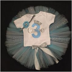 Frozen/Cinderella Inspired Bithday Tutu by SimplyTooCuteCouture