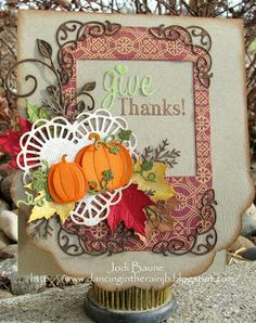 Jodi here! Today I have a fun Thanksgiving card for you! #cheeryld #jodibaune Dies used: Fall Pumpkins - B240; Two Of Hearts - DL128; English Tea Party Doily Angel Wing - DL101A; Coved Rectangle Classic - LG Silver Stackers - L-10; Square Classic - LG Silver Stackers - L-1; Lace Corner Deco B - B162; Mini Fanciful Flourish - B117S; Wreath Strip - B216; Dimensional Small Leaves #2 - D134 http://www.cheerylynndesigns.com