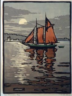 William Rice - San Francisco Bay 1915 from William S. Rice California Block Prints by Treseder Woodcut Art, Linocut Prints, Art Prints, Block Prints, Illustrations, Illustration Art, Art Graphique, Arts And Crafts Movement, Wood Engraving
