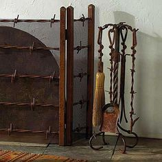 Rustic barbed wire/wrought iron fireplace screen Wrought Iron Fireplace Screen, Fireplace Screens, Western Decor, Rustic Decor, Western Chic, Fireplace Tool Set, Home On The Range, Western Homes, Barbed Wire