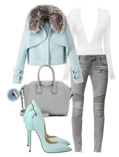 A fashion look from December 2015 by minkstyles featuring Wes Gordon, Balmain, Givenchy and Fendi Classy Outfits, Chic Outfits, Fashion Outfits, Womens Fashion, Fashion Trends, Fashion Heels, Dress Fashion, Fall Outfits, Look Fashion