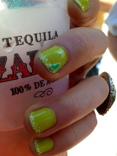 Margarita nails - my own design - Happy Cinco de Mayo! Fancy Nails, Bling Nails, Pretty Nails, Toe Nail Designs, Nail Polish Designs, Margarita Nails, Margarita Party, Tequila, Las Vegas Nails