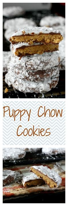 Puppy Chow Cookies - peanut butter cookies coated in chocolate and peanut butter, and covered in powdered sugar. They taste like puppy chow! Just Desserts, Delicious Desserts, Yummy Food, Tasty, Baking Recipes, Cookie Recipes, Dessert Recipes, Best Party Mix Recipe, Yummy Treats