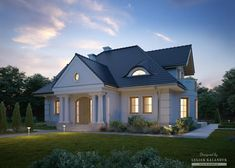 Projekty domów LK&Projekt LK&1410 wizualizacja 4 Modern Bungalow House, Modern House Plans, Kerala Houses, House Front, Home Fashion, How To Plan, House Styles, Case, Home Decor