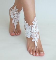 Beach Weddings Barefoot Sandals white lace beac shoes   Etsy Bridesmaid Sandals, Beach Wedding Sandals, Beach Shoes, Beach Weddings, Bridal Accessories, Bridal Jewelry, Etsy Bridesmaid Gifts, Bridal Lace, Lace Wedding