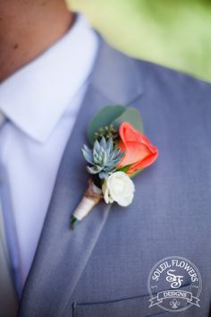 We like this boutonniere and would like something similar. I like how the coral pops and the succulent makes it unique. Coral Boutonniere, Prom Corsage And Boutonniere, Groom Boutonniere, Corsages, Prom Flowers, Wedding Cakes With Flowers, Wedding Bouquets, Wedding Dresses, Succulent Corsage