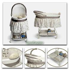 Baby Nursery Crib Furniture Musical Bassinet Bed Newborn Bedding Infant Cradle…