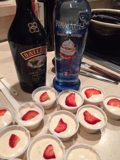 Strawberry Shortcake Pudding Shots - - Nothing says early summer like fresh strawberry shortcakes! 1 box sugar free vanilla pudding ¾ cup skim milk ¼ cup Irish cream ½ cup strawberry shortcake flavored vodka 1 tub of fat free whipped to…. Party Drinks Alcohol, Alcohol Drink Recipes, Liquor Drinks, Vodka Drinks, Cocktail Drinks, Fun Drinks, Alcohol Shots, Mixed Drinks, Shots Drinks