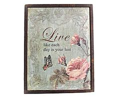 Quadro decorativo rose and live - 24 x 37,5 cm