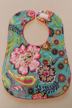 Bright whimsical floral laminated bib pink by LucyGooseBoutique