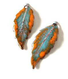 Blue Leaf Enamel Earring Charms