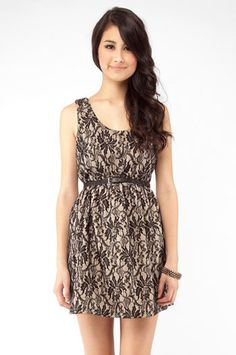 Lacey Faire Dress in Black and Taupe $54 at www.tobi.com