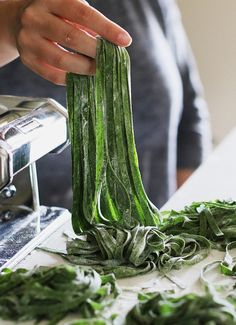 How to make better homemade pasta, that's healthier and more fun to cook with the Yuppiechef Pasta Maker and this easy spinach pasta recipe. pasta Make better homemade pasta with our tips and this easy spinach and herb recipe Pot Pasta, Pasta Noodles, Pasta Dishes, Spinach Noodles, Spinach Pasta Recipes, Homemade Pasta Dough, Barley Risotto, Pasta Casera, Pasta Machine