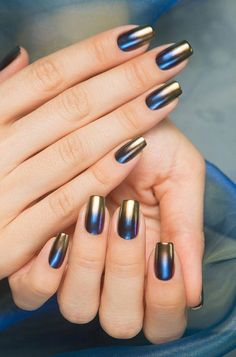 You can get metallic manicures in many ways. You can choose between the nail polish in these colors, and some metallic nail films.