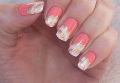 August nails, Beautiful nails 2016, Bright shellac, Bright summer nails, Coral and gold nails, Coral and white nails, Fashion nails 2016, Juicy…