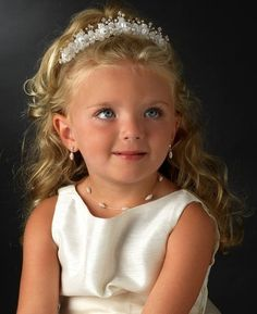 Flower Girl Headpiece with Matching dainty Pearl Jewelry set - Affordable Elegance Bridal -
