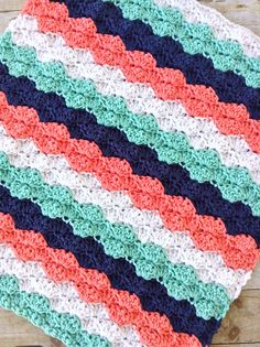 Chunky striped crochet baby blanket lap blanket coral navy